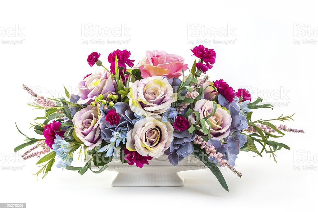 Bouquet of flowers in ceramic pot stock photo