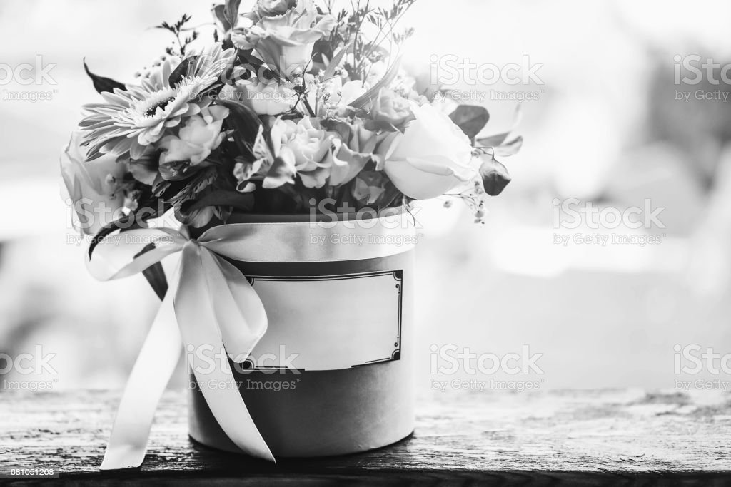 Bouquet of flowers in the box royalty-free stock photo
