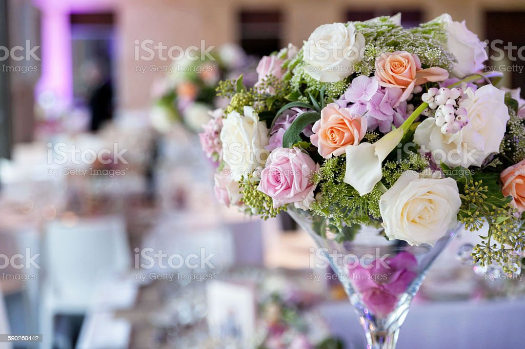Bouquet of flowers in vase stock photo