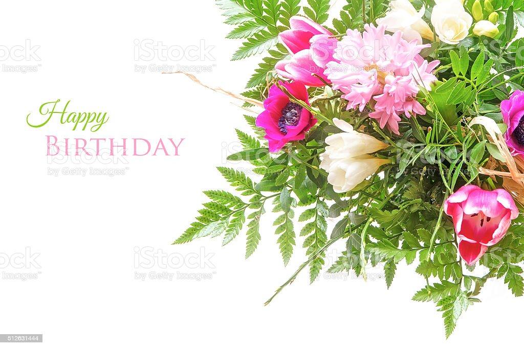 Bouquet De Fleurs Seul Sur Blanc Texte Joyeux Anniversaire Photos