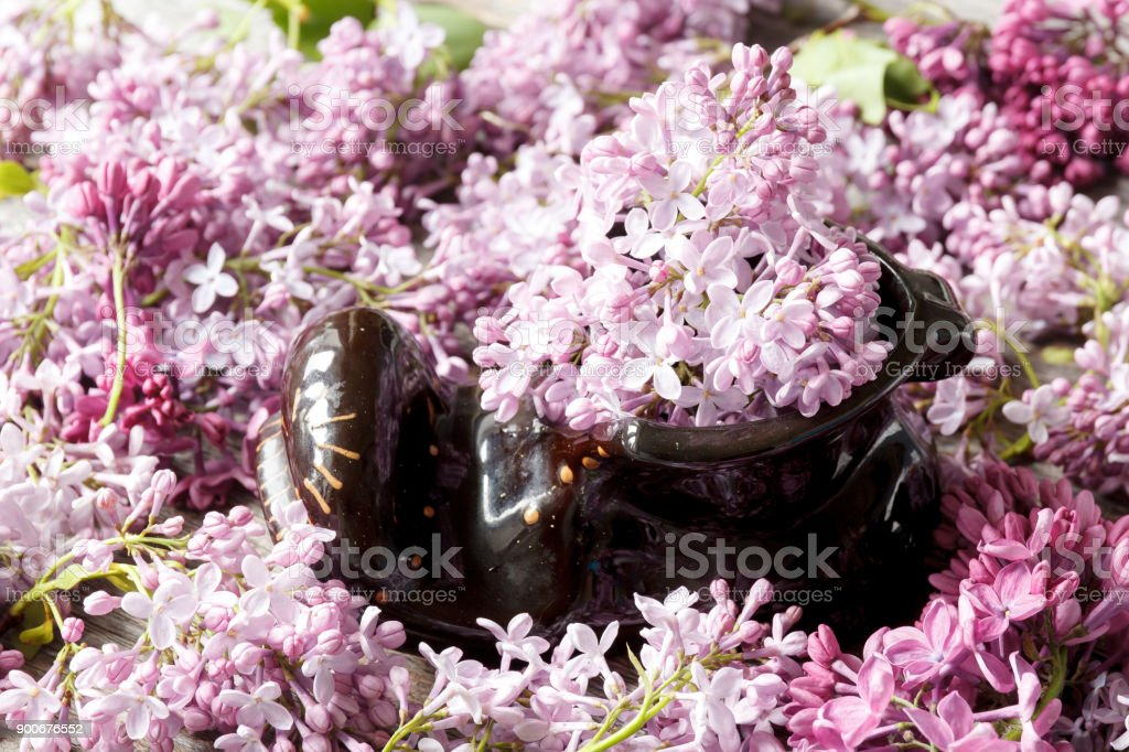 A bouquet of flowers of lilac in a ceramic Shoe. stock photo