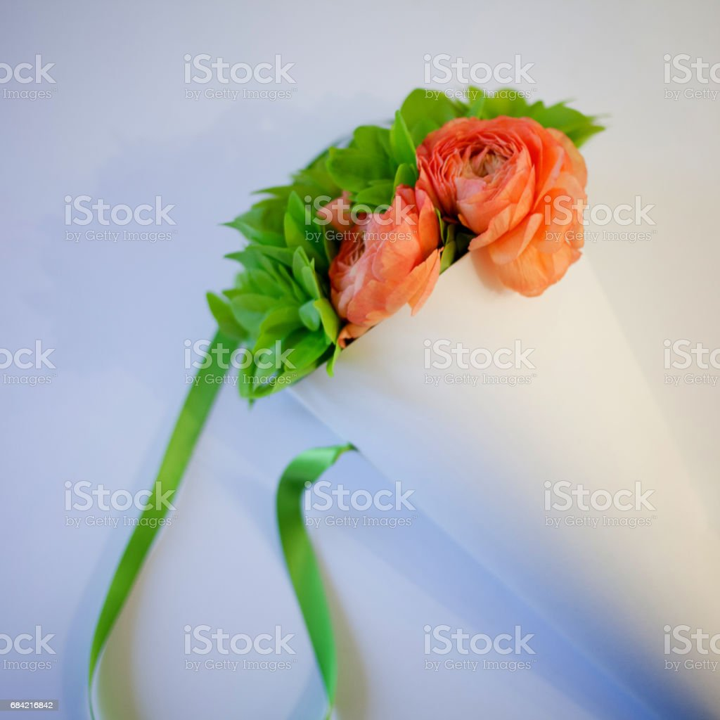 Bouquet of flowers on your desktop, gift royalty-free stock photo
