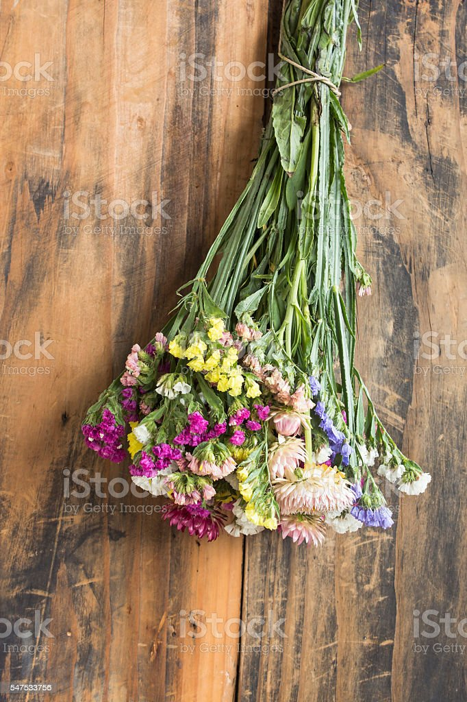 Bouquet of Flowers, Statice and Strawflower stock photo
