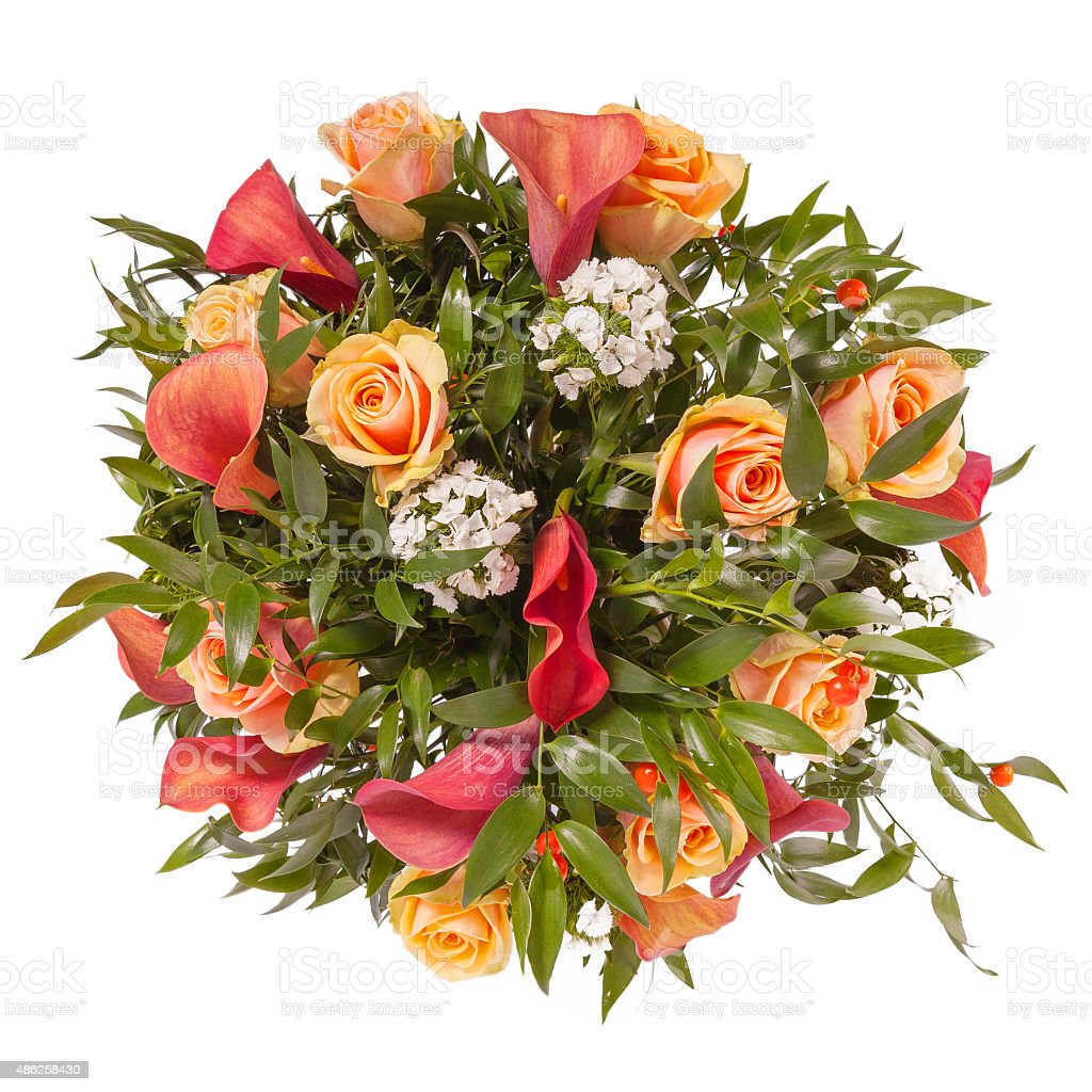 Bouquet of flowers top view isolated on white stock photo more bouquet of flowers top view isolated on white royalty free stock photo izmirmasajfo