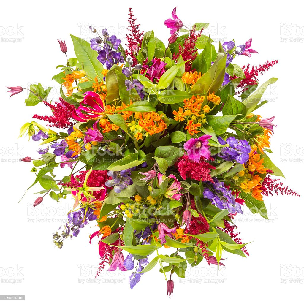 Bouquet Of Flowers Top View Isolated On White Stock Photo More