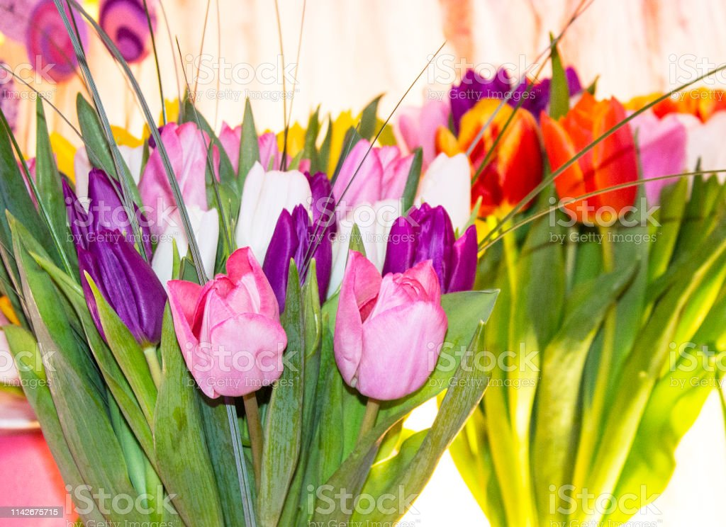 bouquet of flowers. Tulips of different colors. Birthday gifts from...
