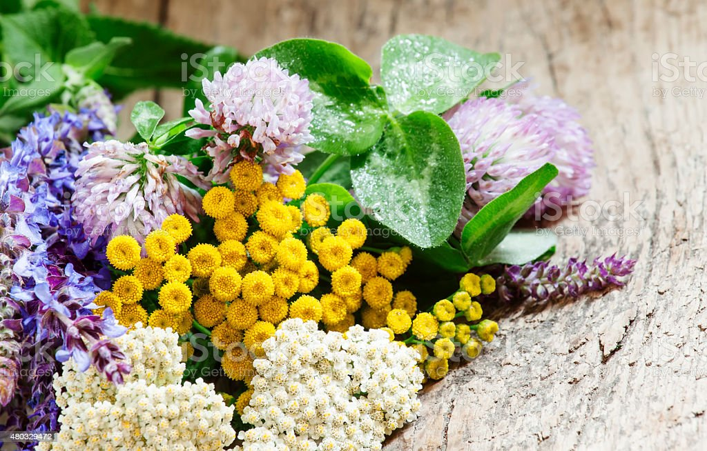 Bouquet of herbs and wild flowers on old wooden table stock photo