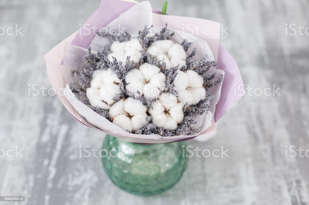 Bouquet Of Lavender And Cotton Flowers Colorful Summer Bunch Of ...