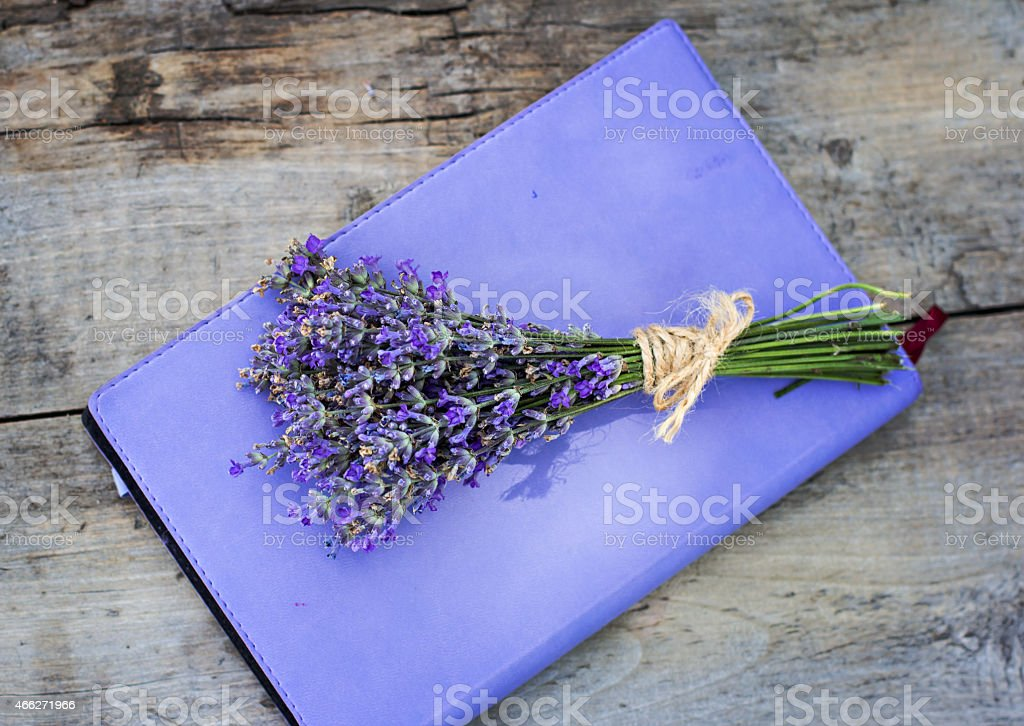 bouquet of lavender and diary royalty-free stock photo