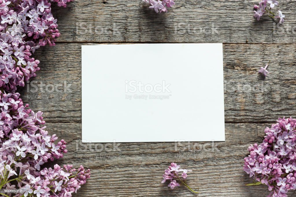 Bouquet of lilac flowers on wooden background. stock photo