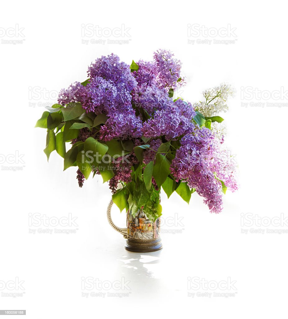 Bouquet of lilac in bright jar on light tones royalty-free stock photo