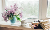 istock Bouquet of lilacs in a vase,cup of coffee and books on the windowsill 1250315948
