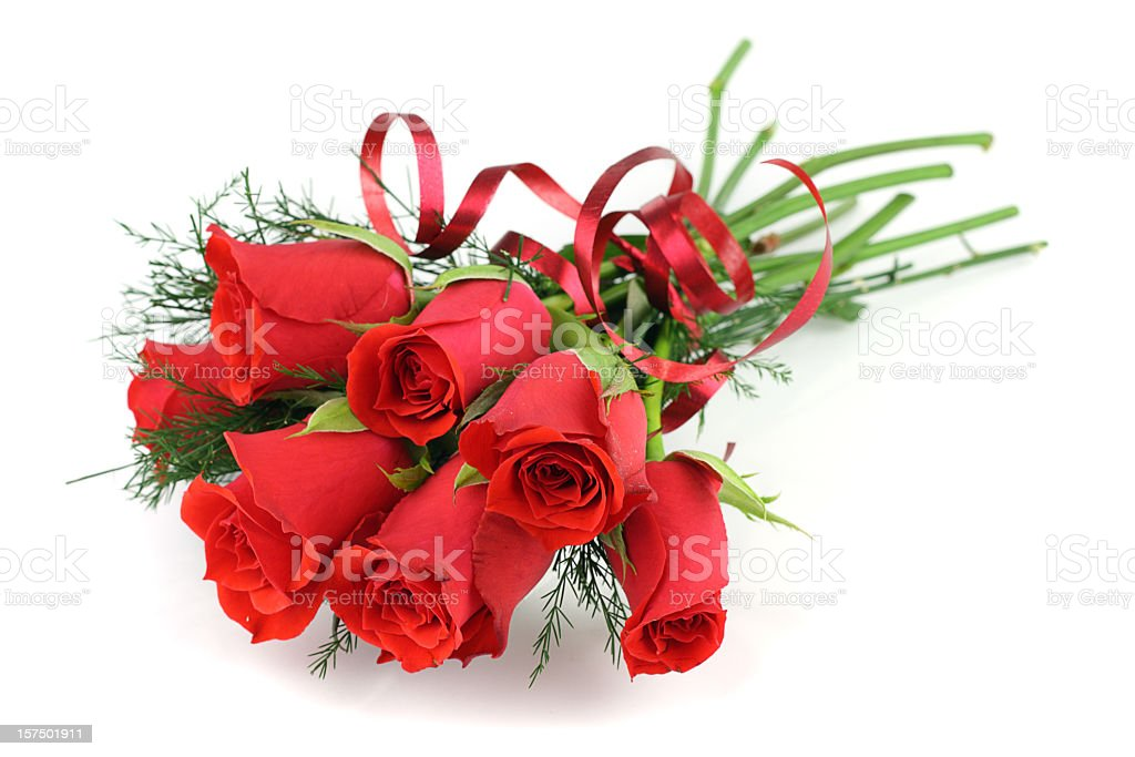 Bouquet of long stemmed red roses isolated on white royalty-free stock photo