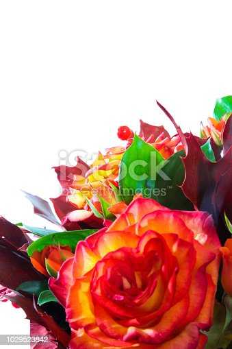 Large multicolored bouquet of many flowers: Roses, chrysanthemums and other flowers