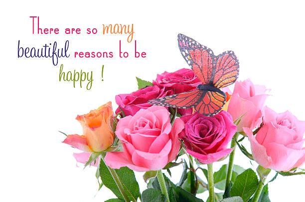 bouquet von multi farbe aus rosa knospen mit schmetterling und angebot - rosa zitate stock-fotos und bilder