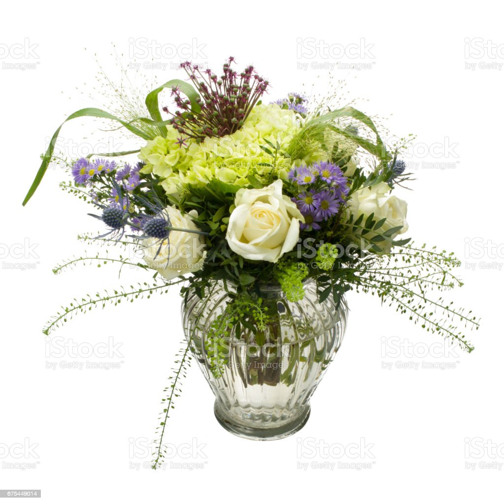Bouquet Of Multicolored Flowers Of Different Species On White