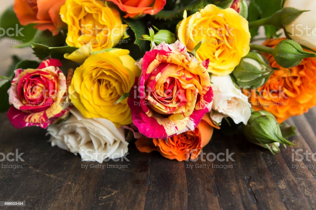 Bouquet of Multicolored Roses royalty-free stock photo