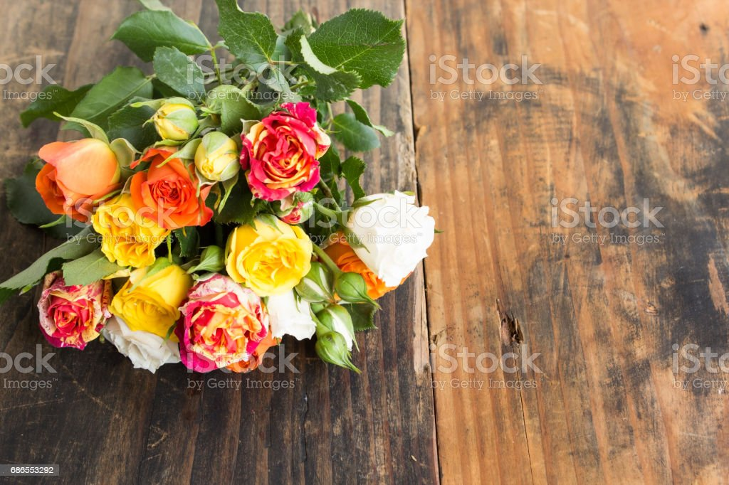 Bouquet of Multicolored Roses with Copy Space royalty-free stock photo