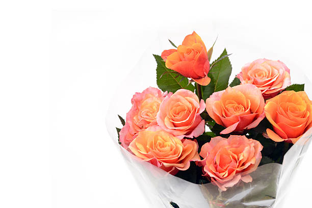 Royalty free plastic wrapping paper wrapped flower pictures images bouquet of orange roses stock photo mightylinksfo