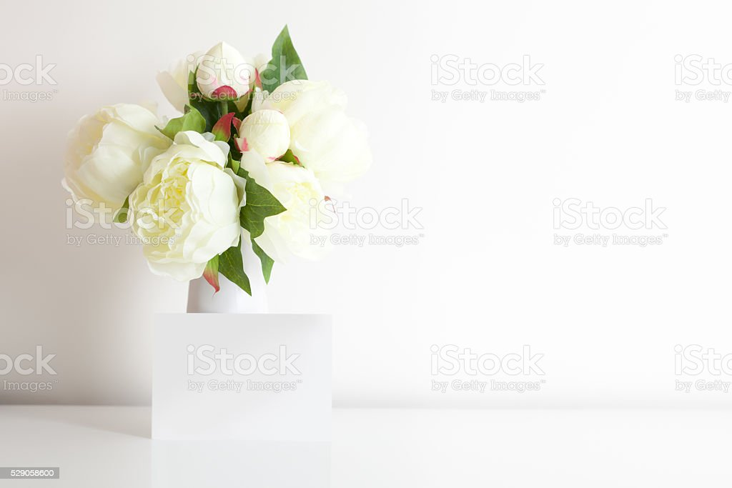 Bouquet Of Peonies And Card stock photo