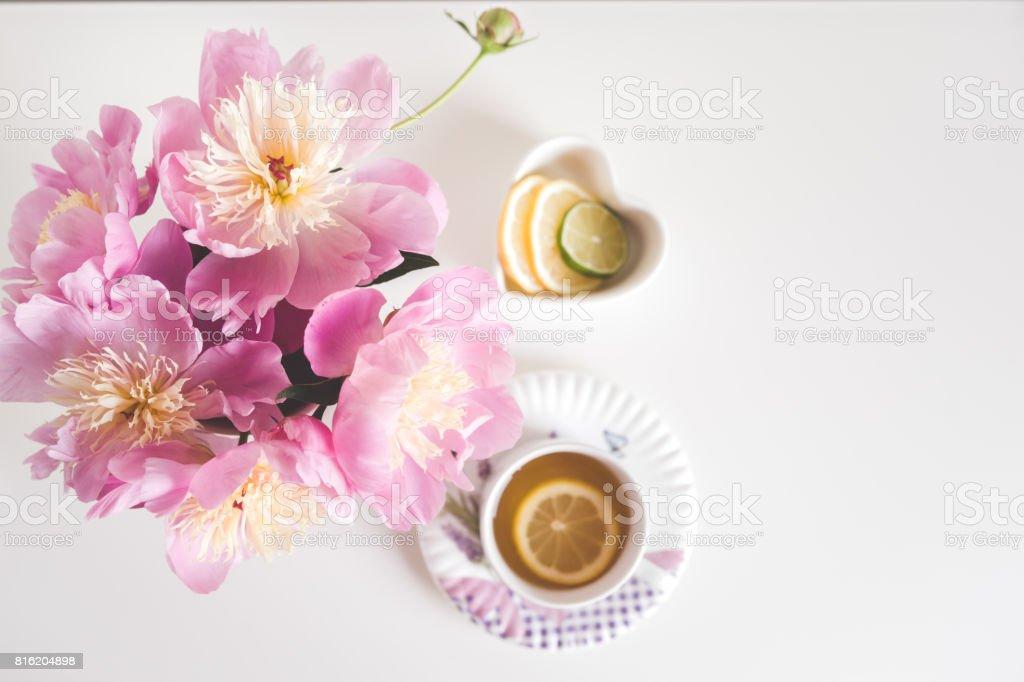 Bouquet Of Peonies Tea With Lemon Photo In Gentle Colors Good