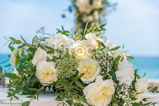 bouquet of peony and roses on table close up - wedding
