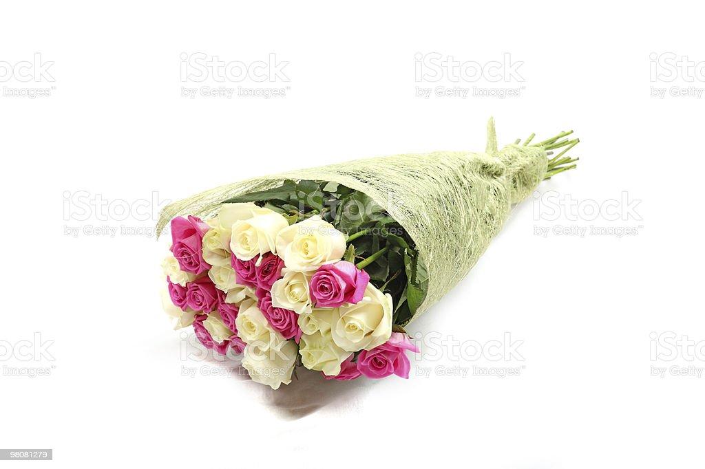 Bouquet di rose rosa con bianco e beige. foto stock royalty-free