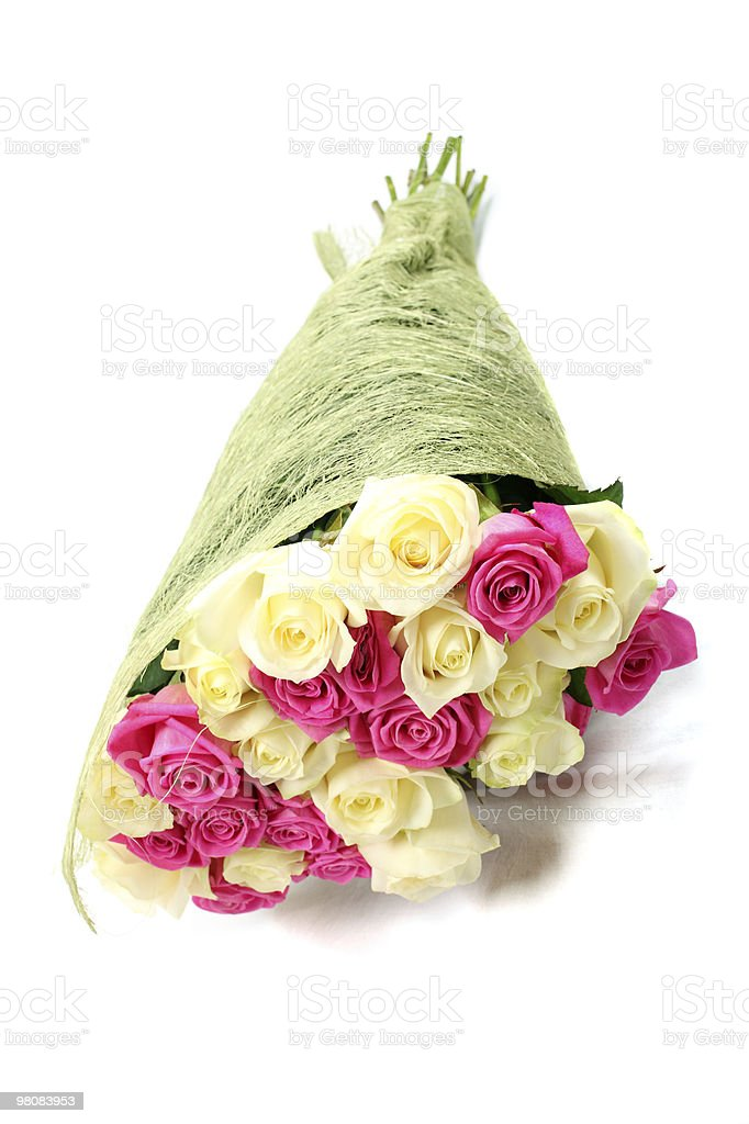 Bouquet of pink and beige roses. royalty-free stock photo