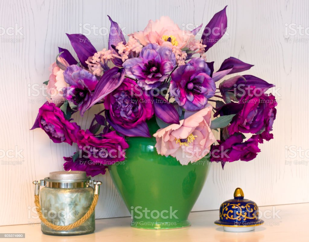 Bouquet Of Pink And Purple Peonies Artificial Flowers Made Of Silk