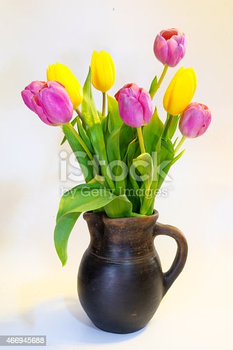 istock Bouquet of pink and yellow tulips 466945688
