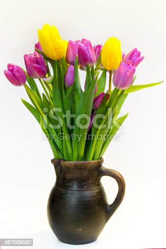 istock Bouquet of pink and yellow tulips 467069092