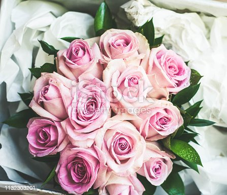 Close up of pink rose bouquet, overhead view