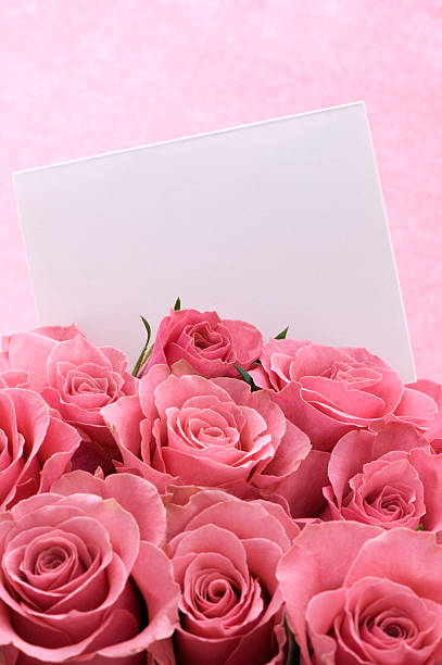 Bouquet of Pink Roses With White Card