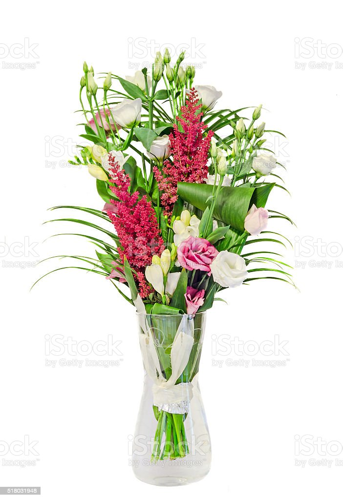 Bouquet of Pink, white Eustoma, Lisianthus flowers stock photo