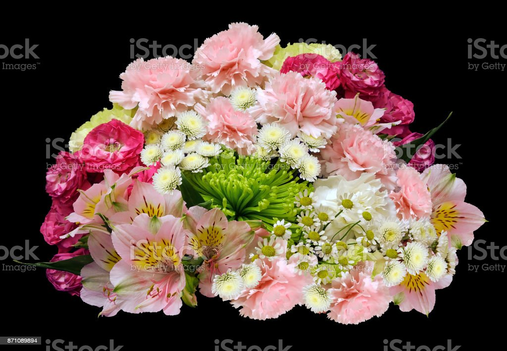 Bouquet of pink-yellow-white flowers on an isolated black background with clipping path.  no shadows. Closeup. Roses cloves chrysanthemum chamomile lilies. Nature. stock photo