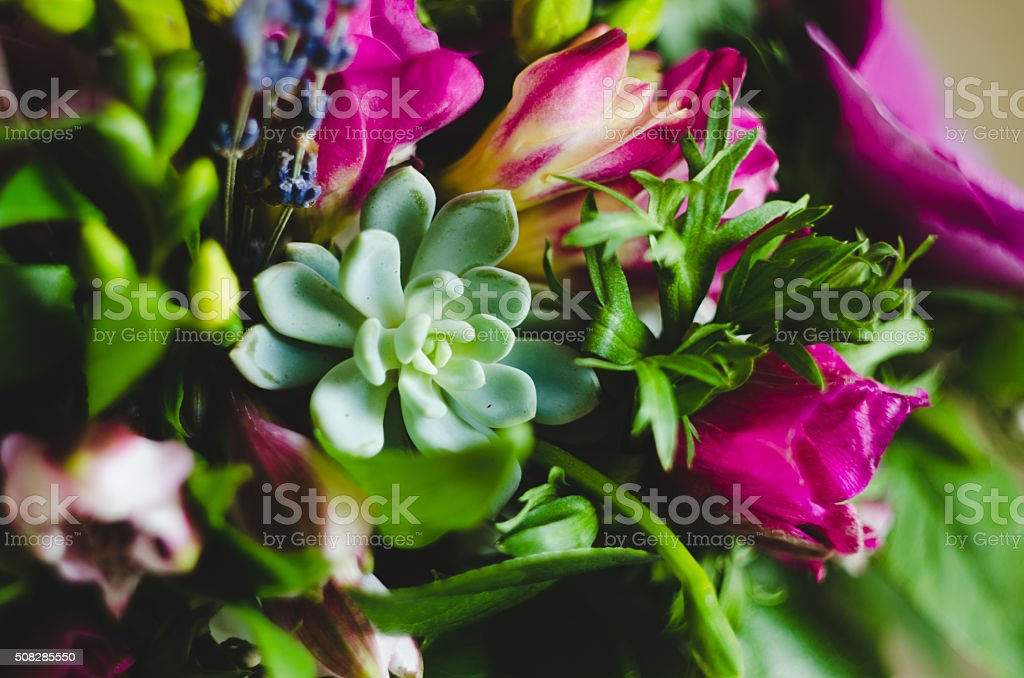 bouquet of purple flowers and greenery with succulent stock photo