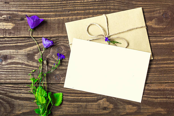 Royalty free blank white greeting card and envelope with purple blank white greeting card and envelope with purple wildflowers pictures images and stock photos m4hsunfo
