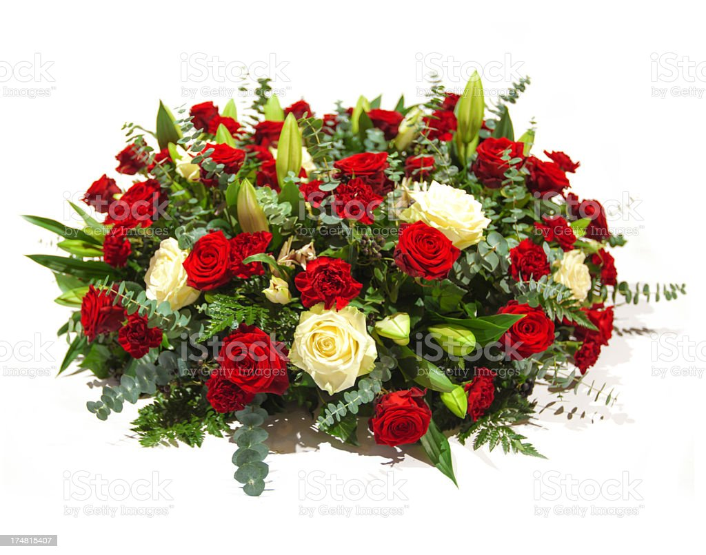 A bouquet of red and white roses stock photo