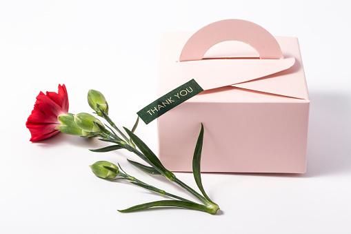 Bouquet Of Red Carnations And Giftbox Or Message Card - zdjęcia stockowe i więcej obrazów Białe tło