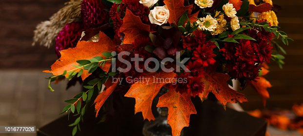 bouquet of red leaves