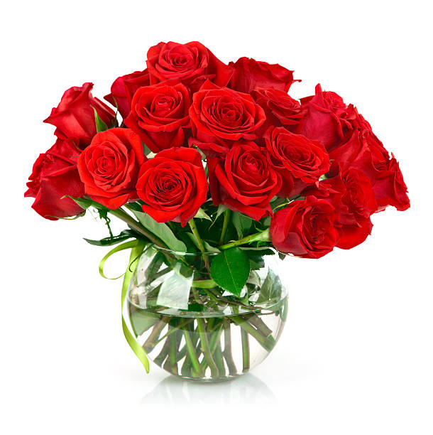 bouquet of red roses - vase stock pictures, royalty-free photos & images