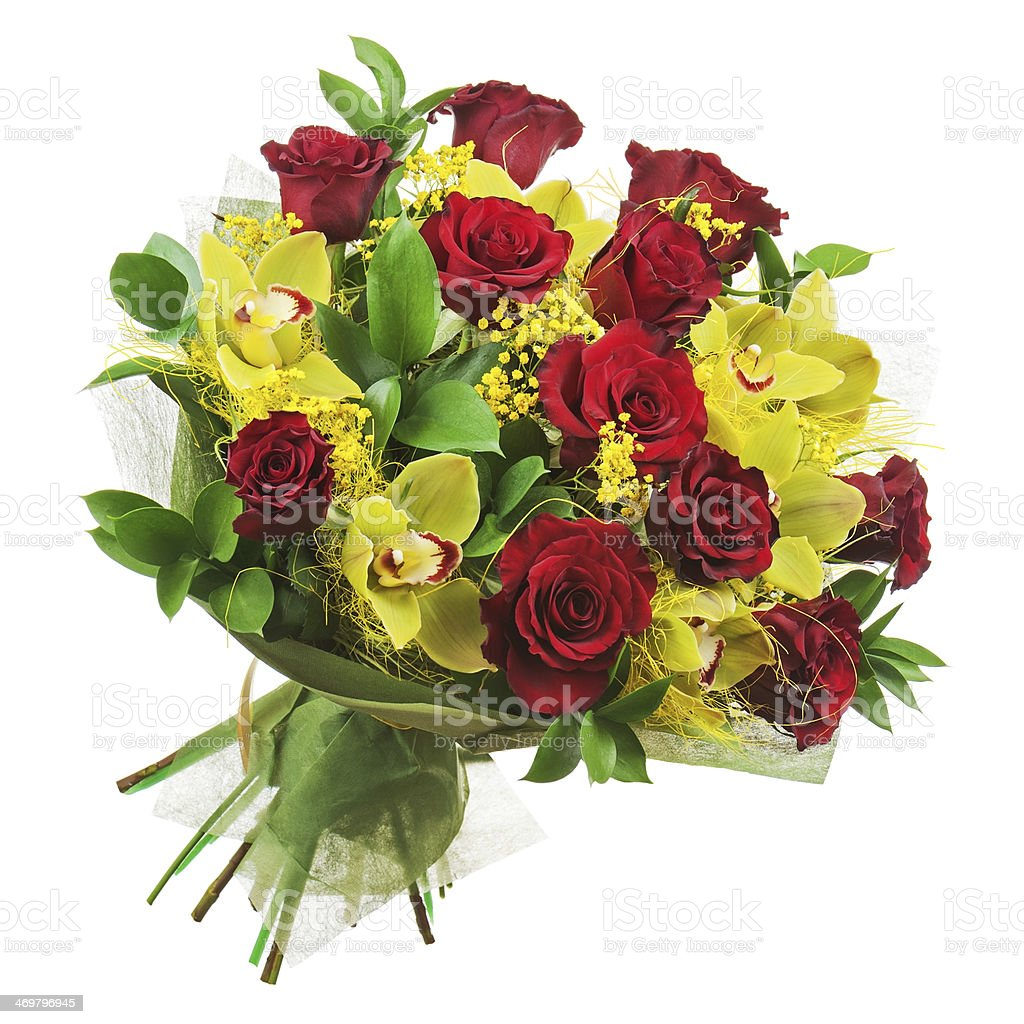 Bouquet of roses and orchids isolated on white background. royalty-free stock photo