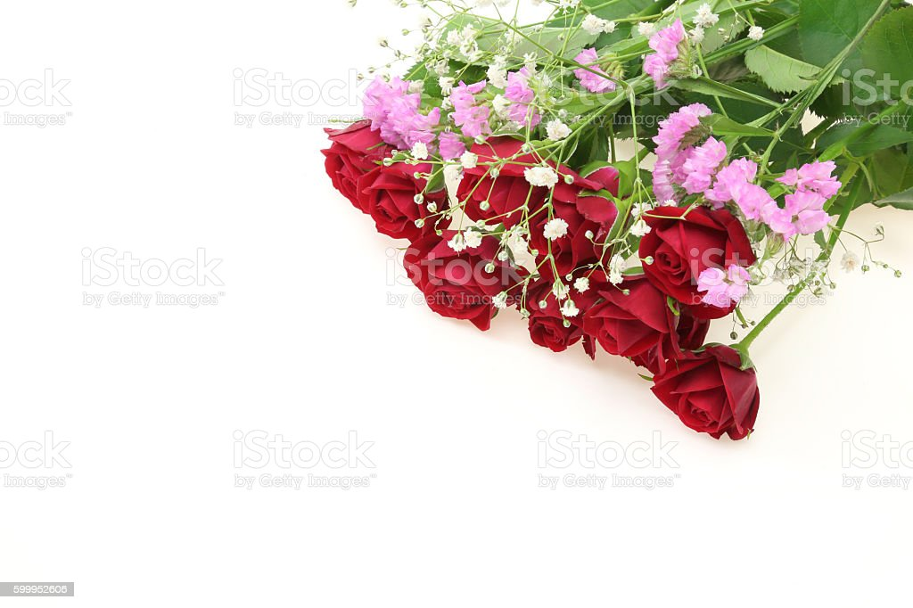 Bouquet Of Roses Babys Breath And Sea Lavender Stock Photo Download Image Now Istock