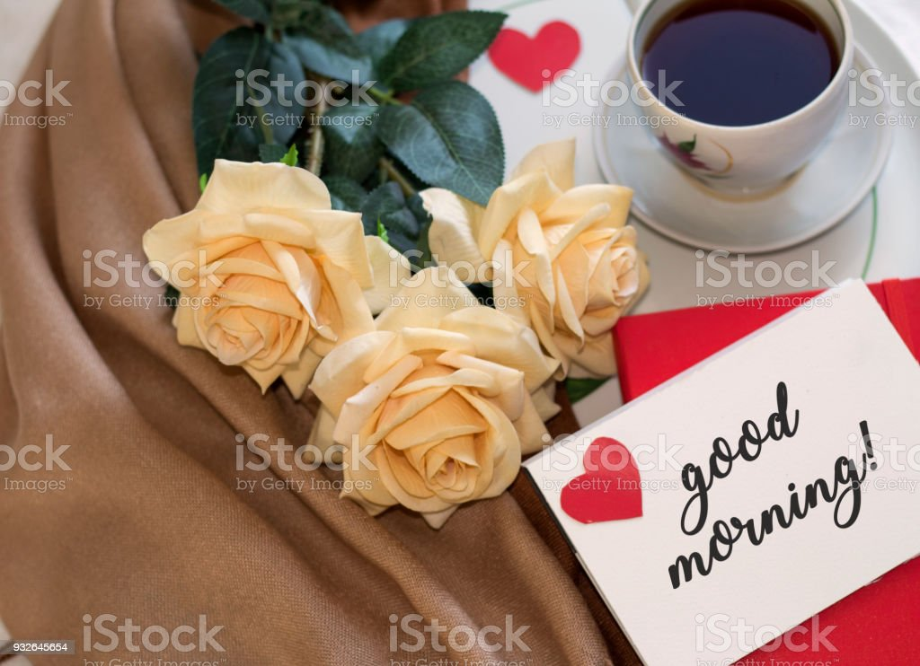 Bouquet Of Roses Cup Of Coffee Good Morning Stock Photo More