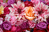 Bouquet of roses, dahlias and carnations