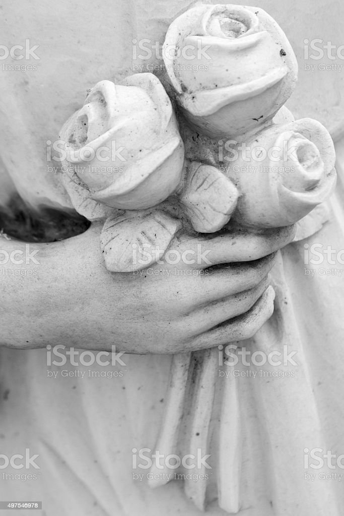bouquet of roses in hand stock photo
