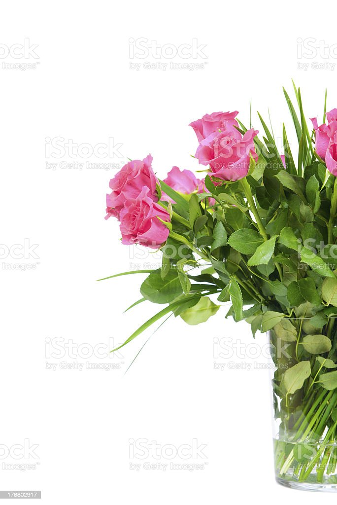 Bouquet of roses in the vase royalty-free stock photo