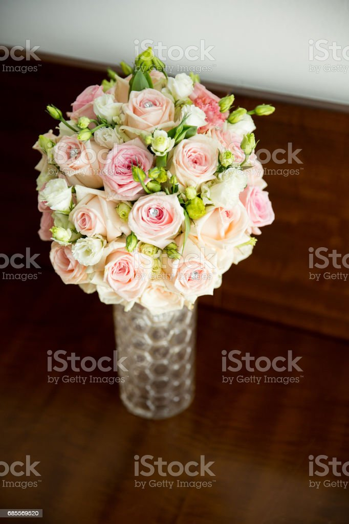Bouquet of roses made for wedding royalty-free 스톡 사진