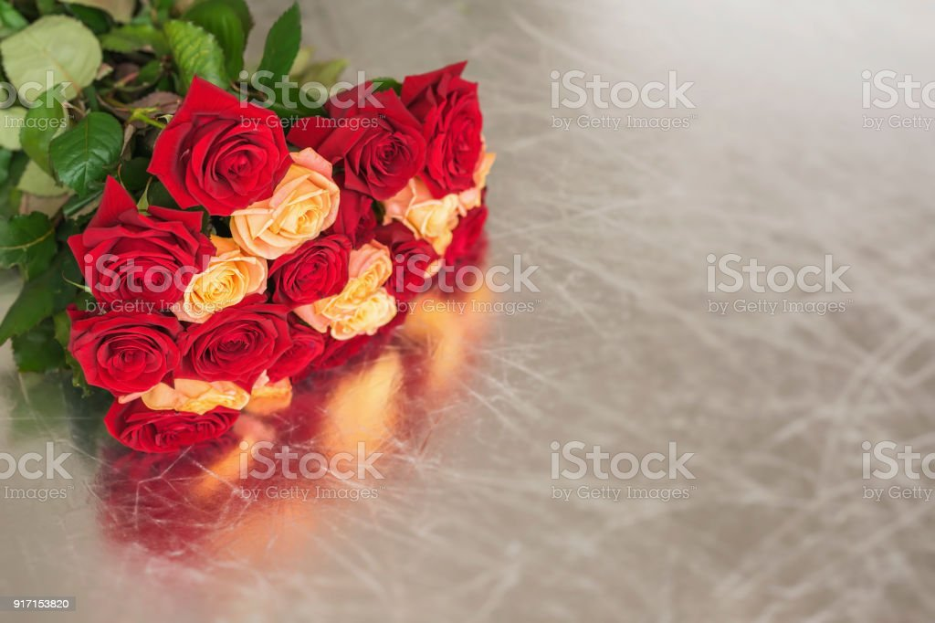 Bouquet Of Roses Of Bright Colors For Beloved Symbol Of Love