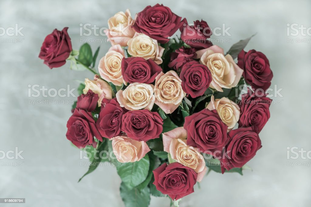 Bouquet Of Roses Of Pastel Toned Colors For Beloved Top View Symbol